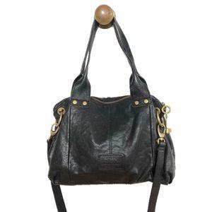 Fossil | Rare black leather crossbody purse